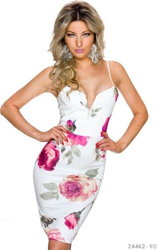 Společenské šaty s květinovým vzorem - bílo-růžové - Glami.cz 5a3a17e05f