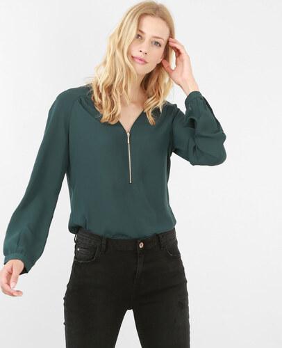 blouse zipp e 40 femme couleur vert sapin taille s pimkie soldes hiver 2017. Black Bedroom Furniture Sets. Home Design Ideas