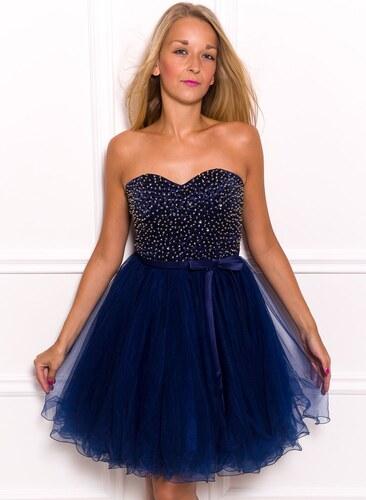 d3f0e378170 Due Linee Dámské krátké plesové šaty bez ramínek - tmavě modrá ...