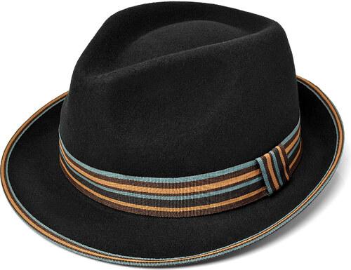 812fbc672b8 Major Wear Černý klobouk Trilby s barevnou stuhou Wool Felt Trilby ...
