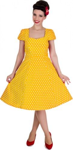 04322c412574 CLAUDIA žluté puntíkované šaty na ples i na piknik - 50.léta - Glami.cz