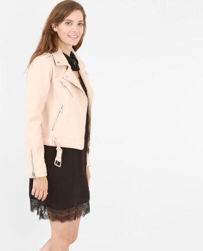 Veste simili cuir femme rose pale