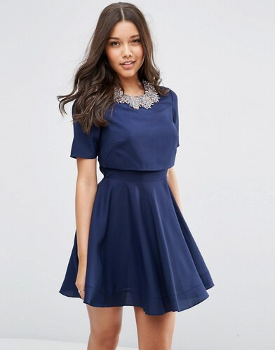 asos robe courte avec top court ornements en grappe bleu. Black Bedroom Furniture Sets. Home Design Ideas