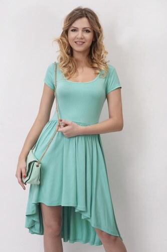 97a3968d6d7e Šaty s krátkým rukávem a asymetrickou sukní barva mátová - Glami.cz