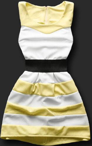 Kleid gelb/weiß 6387