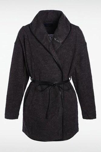 manteau femme col ch le fine ceinture gris acrylique. Black Bedroom Furniture Sets. Home Design Ideas