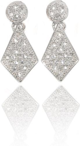 Fashion Icon Stříbrné rhodiované náušnice visací kosočtverce se zirkony 85ef5e62e7a