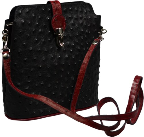 Kožená kabelka Fibbia Nera Rossa