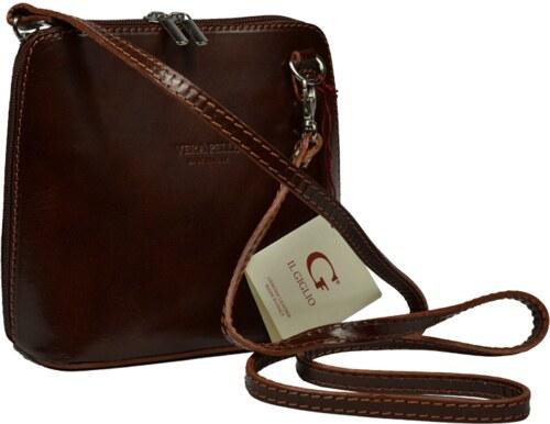 Kožená hnědá kabelka Grana Marrone