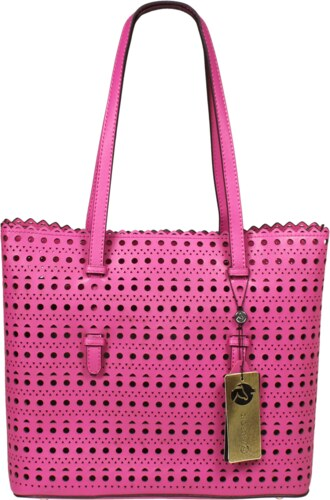 NovaKabelka.cz růžové kožené kabelky přes rameno Perforata Rosa