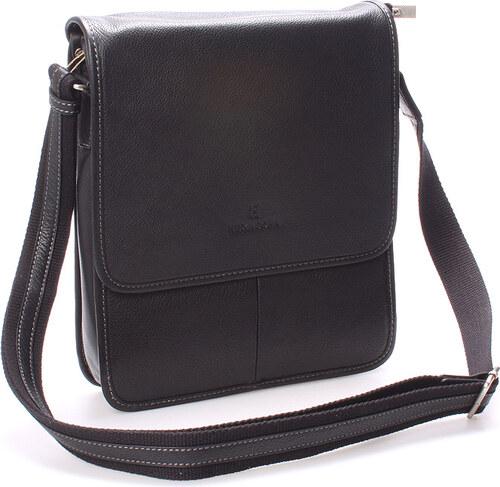 Luxusná pánska kožená taška cez rameno čierna - Hexagona Marco čierna 7b607cadcdb