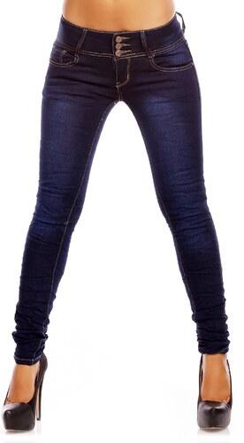 Stylové dámské úzké džíny - tmavě modré - Glami.cz 96516654f6