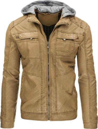 Pánská kožená bunda s kapucí - světle hnědá Velikost  XL - Glami.cz 34008d33985
