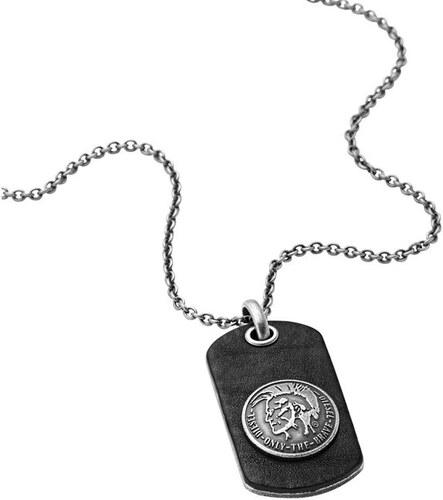 Diesel Pánský náhrdelník z kůže a oceli DX0688040 - Glami.cz 3d55d5bef55