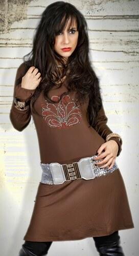 Originální šaty se štrasem, dlouhý rukáv