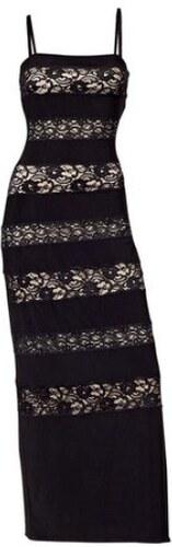 Dlouhé černé krajkové šaty s podšívkou
