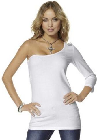 Bílé dámské triko asymetrický střih