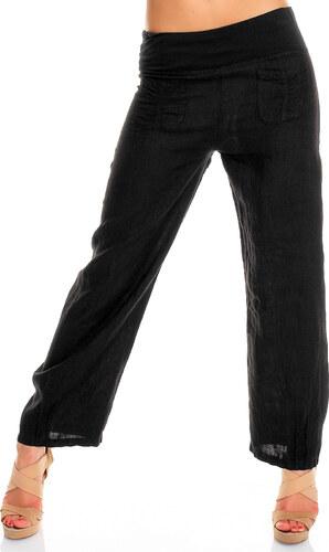 Lněné černé kalhoty