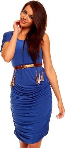 Přiléhavé modré šaty s páskem