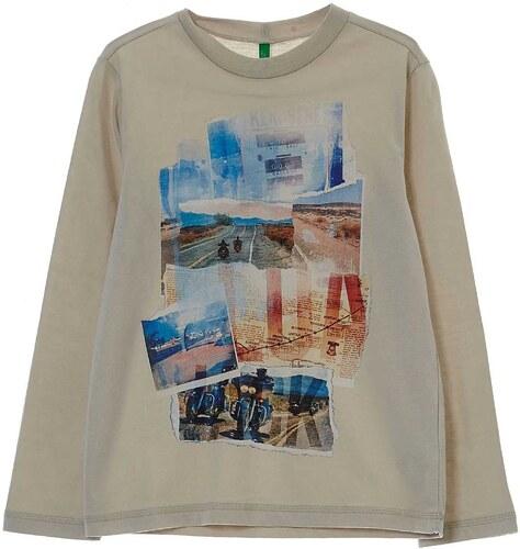 Benetton T-shirt à manches longues en coton - crème