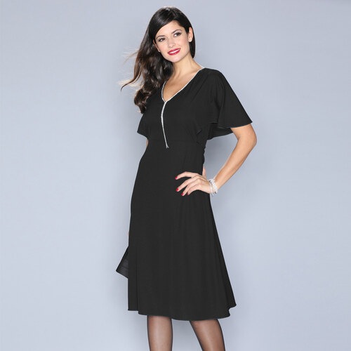 VENCA Elegantné šaty s kamienkami čierna - Glami.sk 551c3fa8b5f