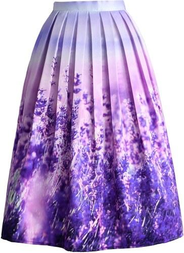 eaf523277e1 Romantická skládaná sukně Chicwish s motivem levandule XXL - Glami.cz