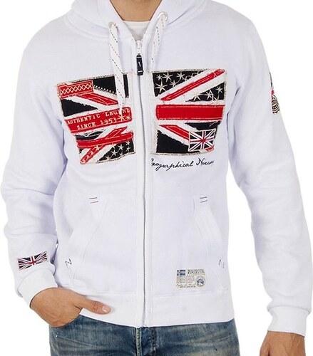 f8e3617376 Pánská bílá mikina s britskou vlajkou Geographical Norway - Glami.cz