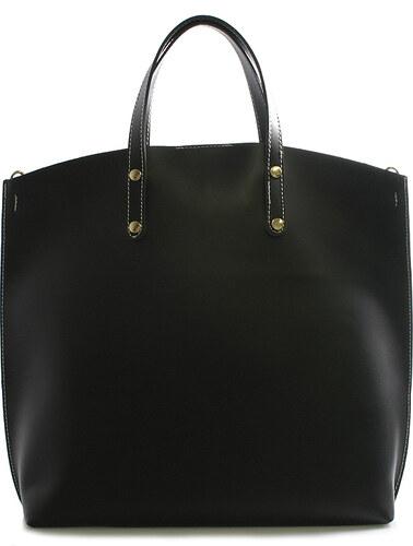 Černá kožená kabelka do ruky ItalY Sydney bíle prošitá černá - Glami.cz 3cb86141e37