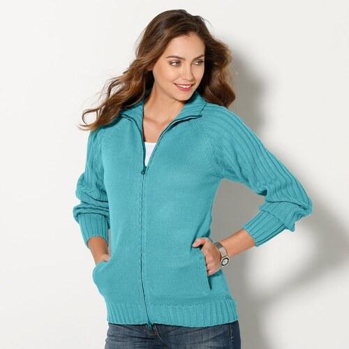 92475ceaca0f Blancheporte Dámsky sveter na zips svetlozelená - Glami.sk