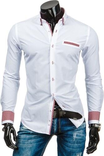 Bílá elegantní pánská košile s červenými doplňky - Glami.cz a9a9608ed6