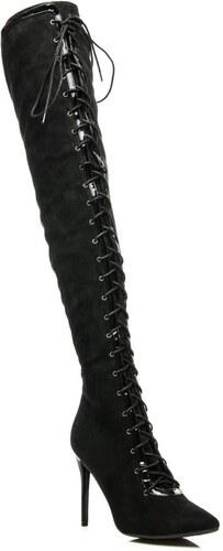 e2daebf465 Exkluzívne čierne dámske čižmy s trendy viazaním - Glami.sk