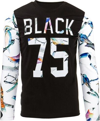 c4cbb605580 Netradiční pánské tričko černé s barevným potiskem - Glami.cz