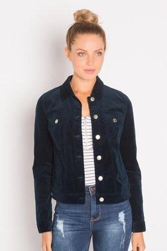 Veste velours courte unie Bleu Coton - Femme Taille 1 - Cache Cache ... 028904dada3b
