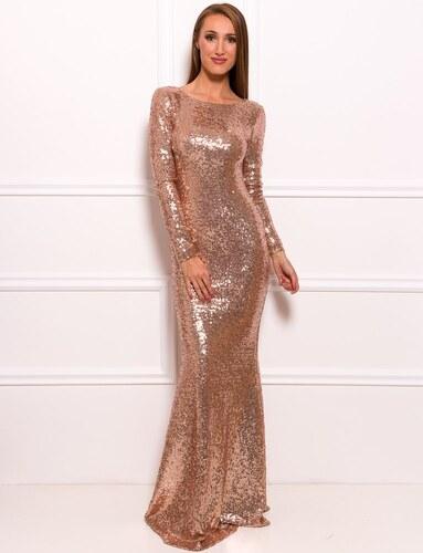Due Linee Společenské luxusní dlouhé šaty s flitry a rukávy - zlatá ... 4b89575b8b