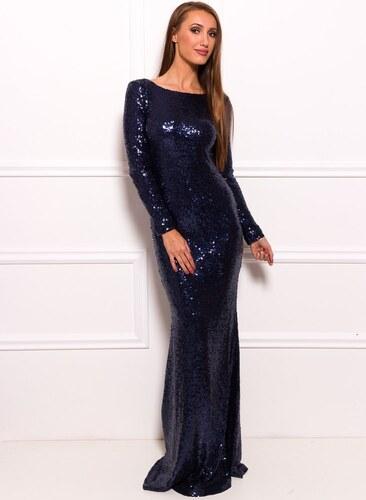 Due Linee Společenské luxusní dlouhé šaty s flitry a rukávy - tmavě modrá 0be5721767