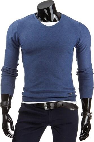 Modrý elegantní pánský svetr - Glami.cz 80584ee2e5