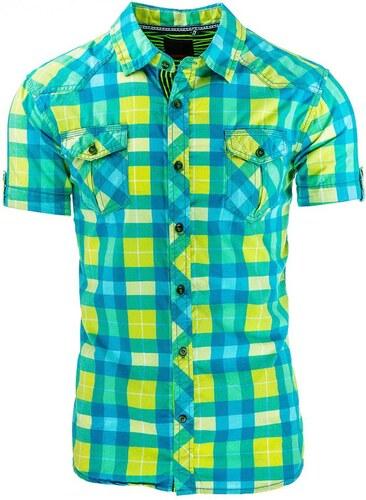 7955758e58a5 Tyrkysovo žltá pánska košeľa s krátkym rukávom - Glami.sk