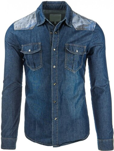 GOV DENIM Pánská džínová košile s dlouhým rukávem - Glami.cz 34bd7900791