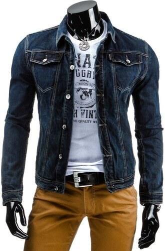 GOV DENIM Stylová tmavě modrá džínová bunda pro muže - Glami.cz 209c3761f22