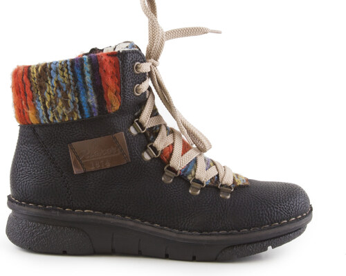 Rieker - Dámské kotníkové zimní boty s pleteninou 9806c3e556