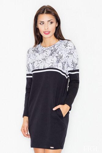 Figl Fekete-fehér virágmintás ruha M510 - Glami.hu 8e772c0ff1