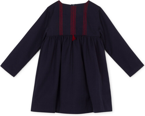Robe Bleu Marine Brodée Rouge