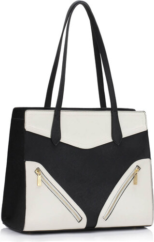 L S Fashion (Anglie) Kabelka LS00405 černobílá - Glami.cz 039ffa14685