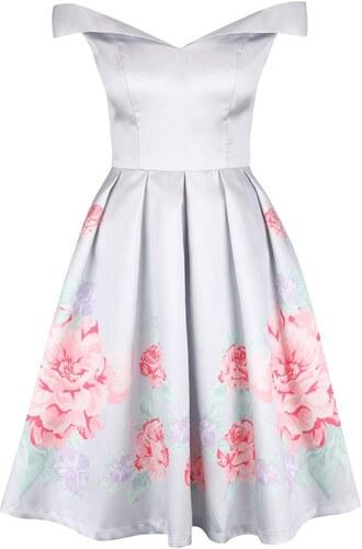 Světle šedé květované šaty se spadlými rameny Chi Chi London Camilla ... 0240a8d60f