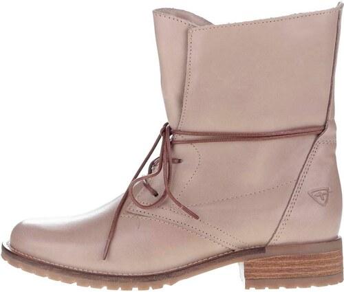 62c91cb6de9e Béžové kožené topánky na šnurovanie Tamaris - Glami.sk