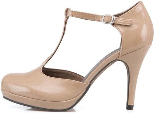 Béžové boty na podpatku Tamaris - Glami.cz 5a3ef8f5a9