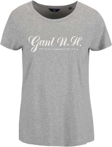 Šedé dámské tričko s potiskem GANT - Glami.cz c549b7f7da
