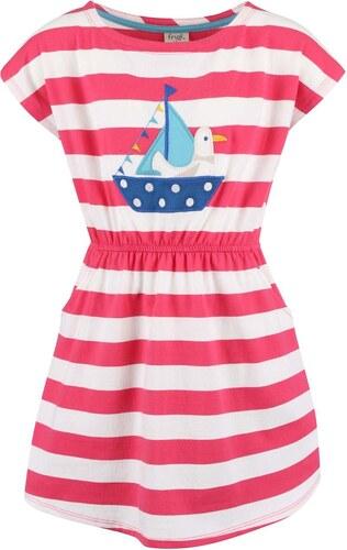 cbe72284a74b Bielo-ružové dievčenské šaty s loďkou Frugi Bryher - Glami.sk