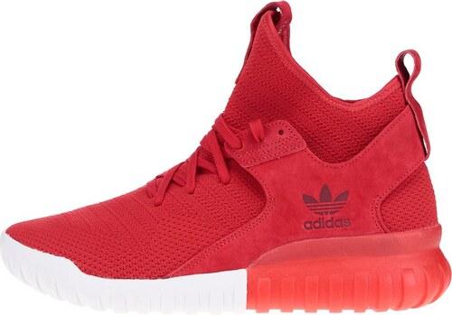 8908e8b44f Červené pánske členkové topánky so semišovým detailom adidas Originals  Tubular X PK