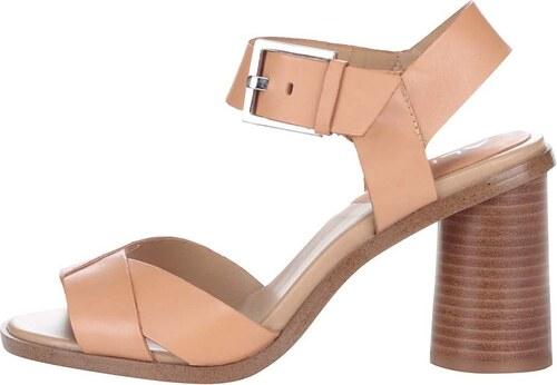 9b131f2f2bb Meruňkově růžové kožené sandály na podpatku s přezkou ve stříbrné barvě  ALDO Ponticino
